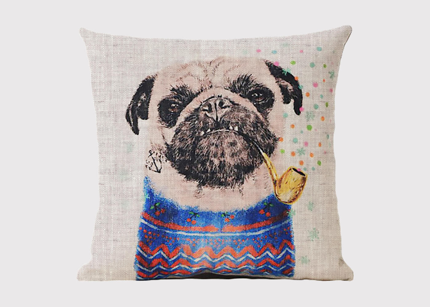Smoking Pug Cushion