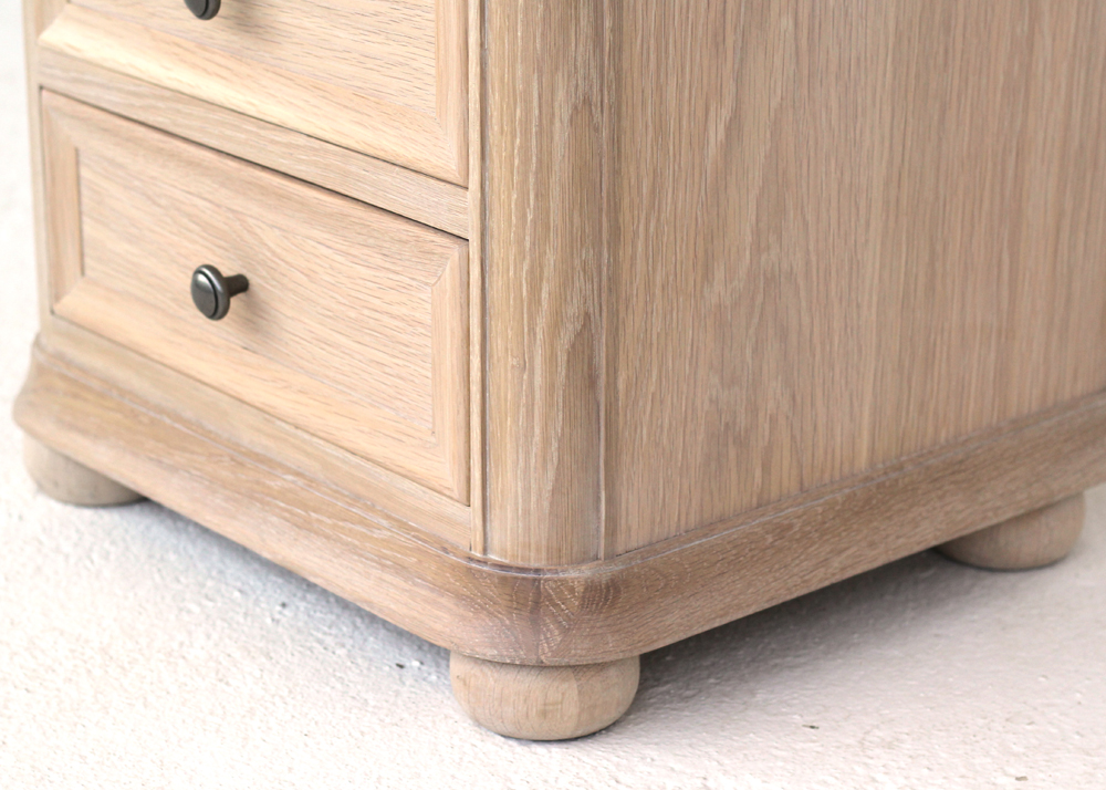 Elise 3 drawer cabinet feet detail